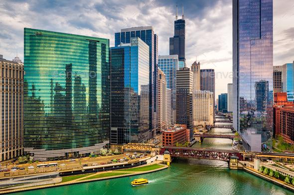 Chicago, Illinois, USA Cityscape - Stock Photo - Images