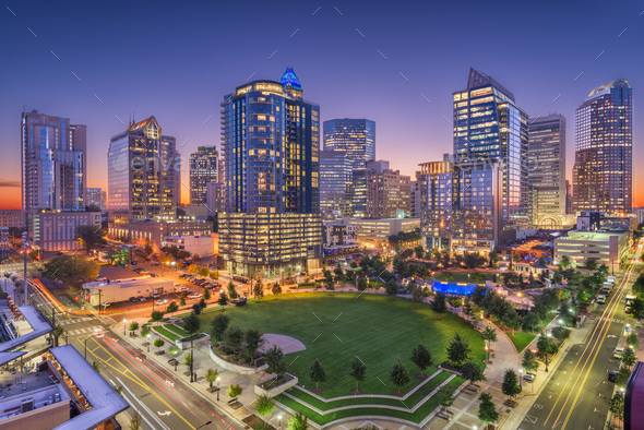 Charlotte, North Carolina, USA Uptown Skyline - Stock Photo - Images