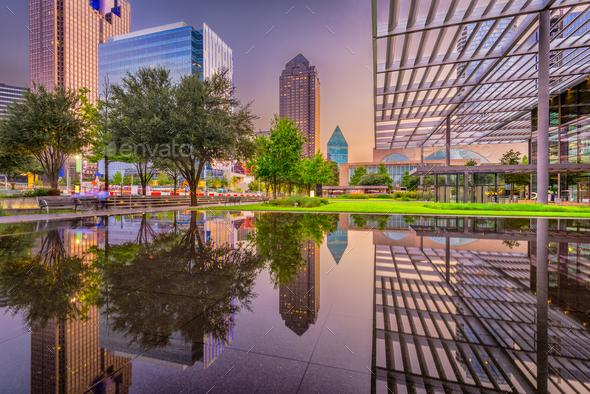 Dallas, Texas Cityscape and Plaza - Stock Photo - Images
