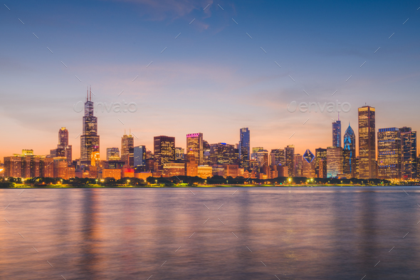Chicago, Illinois, USA Lakefront Skyline - Stock Photo - Images