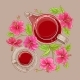 Cup of Hibiscus Tea and Teapot