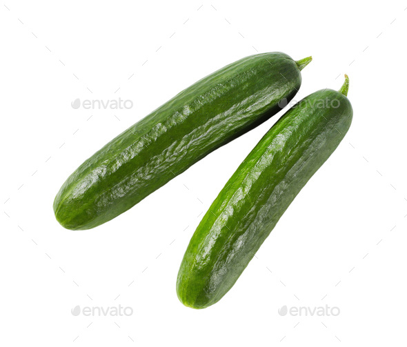 two green cucumbers - Stock Photo - Images