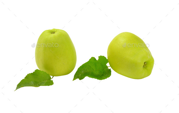 Two green apples - Stock Photo - Images