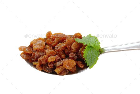spoon of sweet raisins - Stock Photo - Images