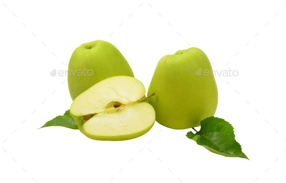 Two and a half green apples - Stock Photo - Images