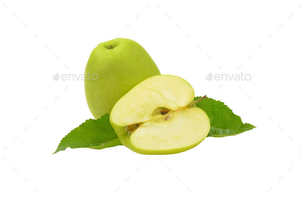 One and a half green apples - Stock Photo - Images