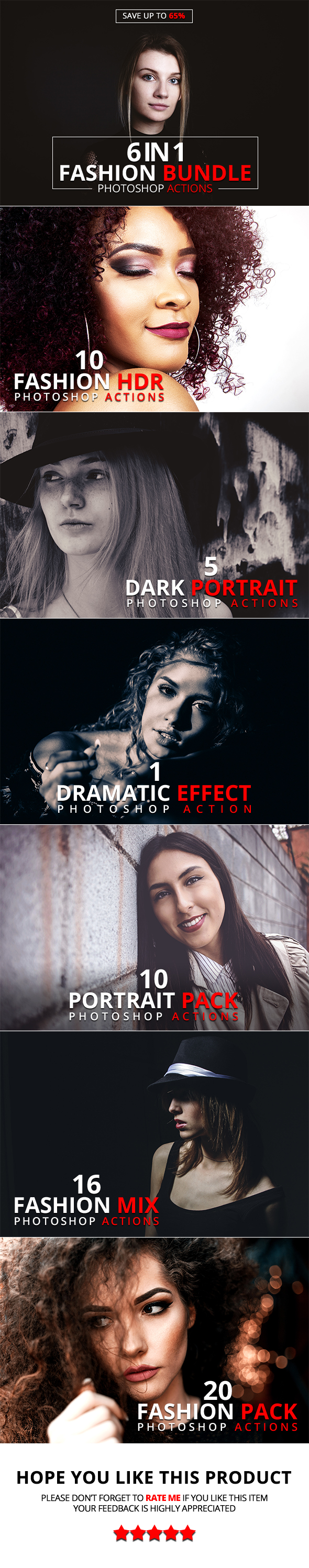6 IN 1 Fashion Bundle Photoshop Actions - Actions Photoshop