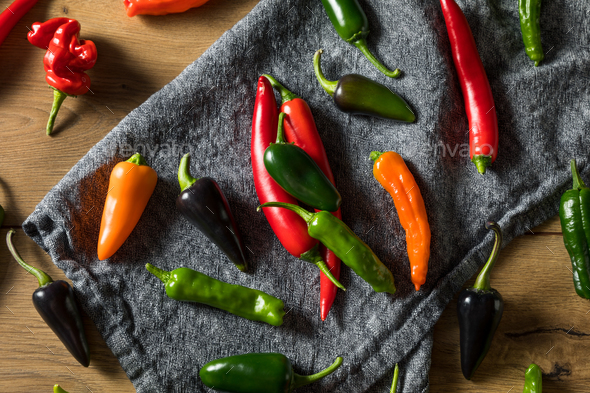 Raw Organic Assorted Hot Peppers - Stock Photo - Images