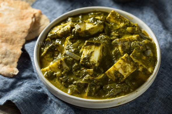 Homemade Healthy Palak Paneer Bowl - Stock Photo - Images