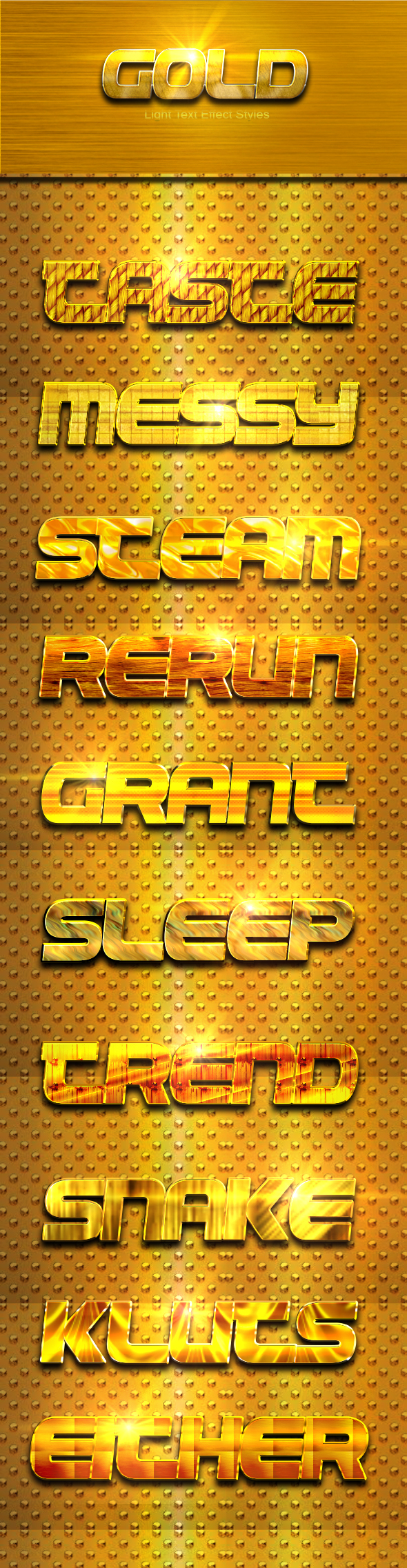 10 Photoshop GOLD Text Effect Styles Vol 5 - Text Effects Styles