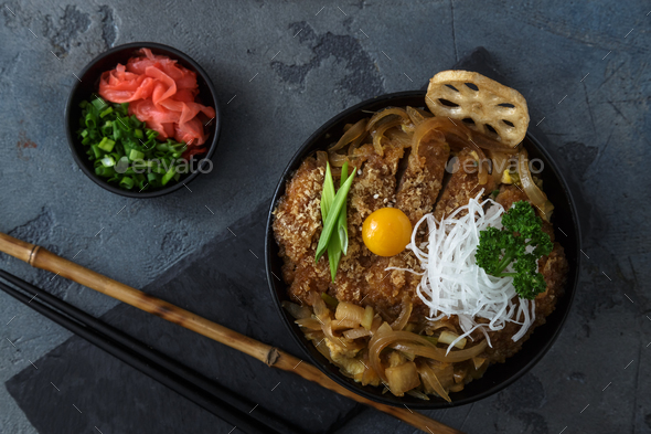 Katsudon rice topped with fried pork, japanese cuisine - Stock Photo - Images
