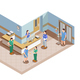 Hospital Lobby Isometric Composition