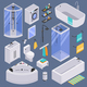 Bathroom Isometric Set Background