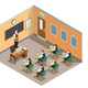 Class Room Isometric Composition
