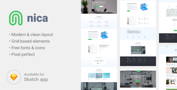 Nica - Corporate Portfolio Sketch Template - Sketch Templates