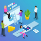 Interface Office Isometric Composition