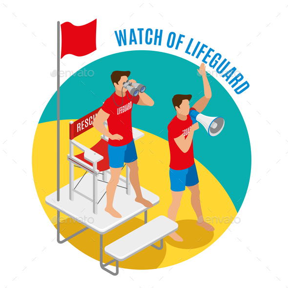 Watch of Lifeguard Round Design Concept - People Characters