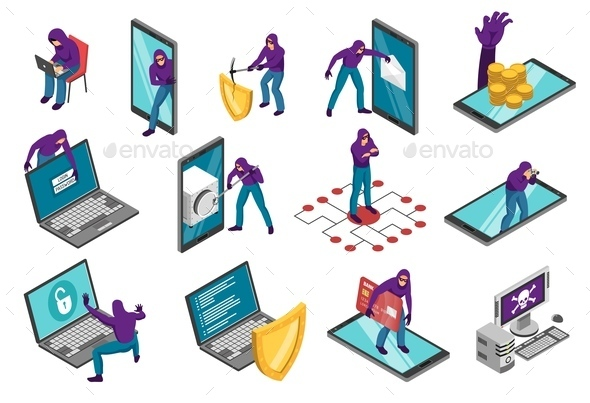 Cyber Terrorist Isometric Set - Computers Technology