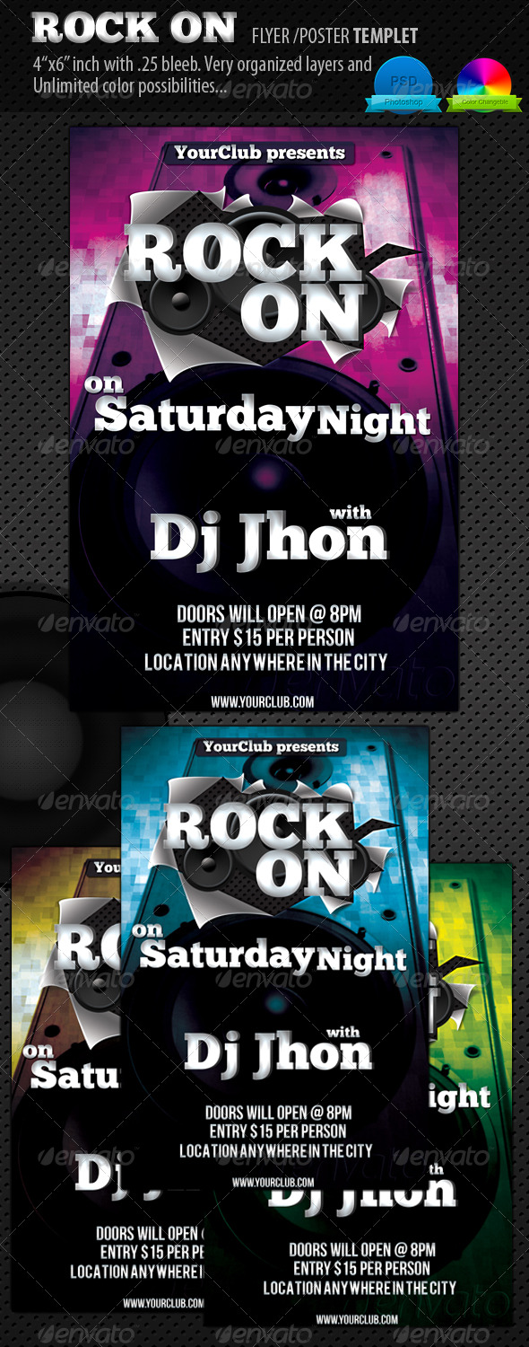 Rock on Flyer or Poster Templet - Clubs & Parties Events