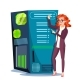 Data Center Vector. Hosting Server And Woman
