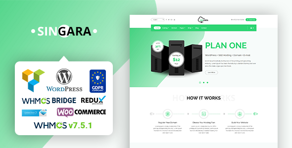 Singara – Multipurpose Hosting with WHMCS WordPress Themes