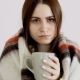 Cold Girl of European Appearance in a Woolen Blanket Is Drinking Hot Tea - VideoHive Item for Sale