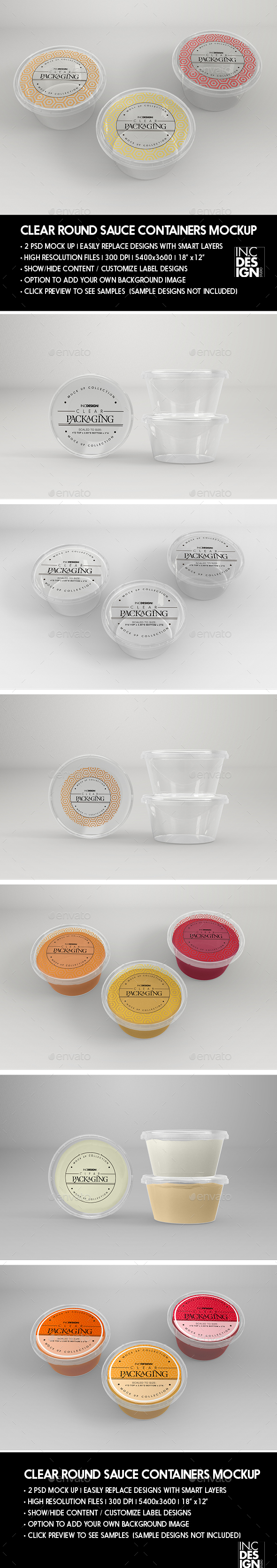 Clear Round Sauce Containers Packaging Mockup - Packaging Product Mock-Ups