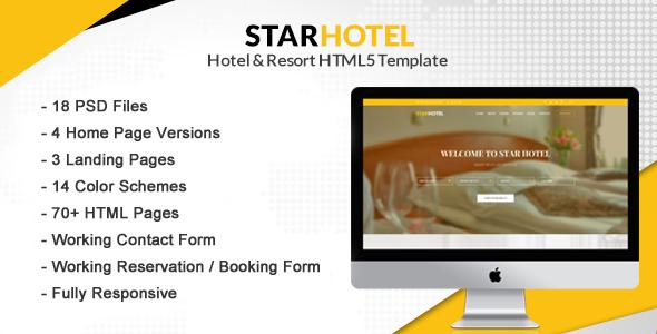 STAR HOTEL - Hotel, Resort & Restaurant Booking HTML5 Template - Travel Retail