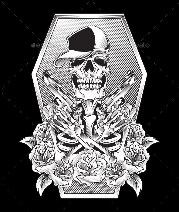 Skull with Guns - Decorative Symbols Decorative