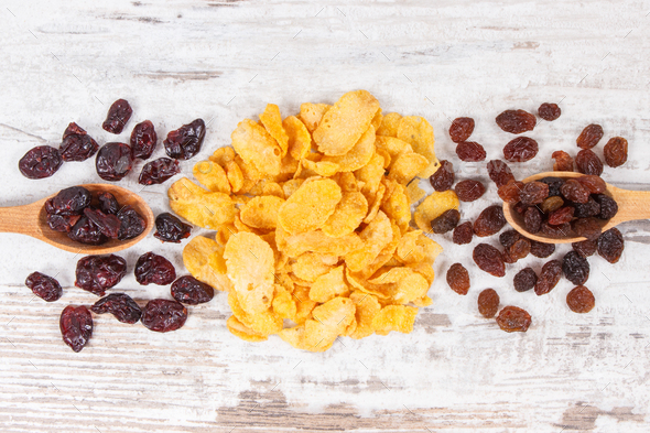 Healthy ingredients containing minerals, carbohydrates and dietary fiber, nutritious eating concept - Stock Photo - Images