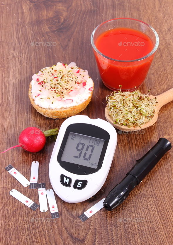 Glucometer for measuring sugar level, accessories for diabetic and healthy food and drink - Stock Photo - Images