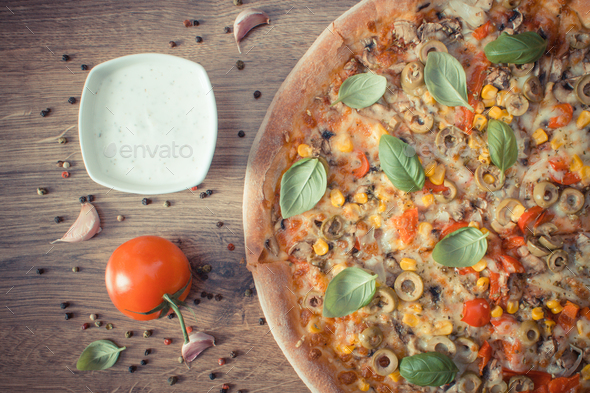 Vintage photo, Vegetarian pizza and ingredients with spices - Stock Photo - Images