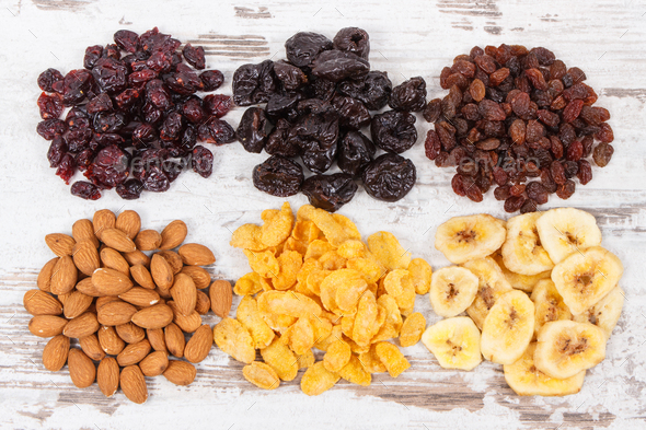 Healthy nutritious ingredients as source vitamins, carbohydrates and dietary fiber - Stock Photo - Images