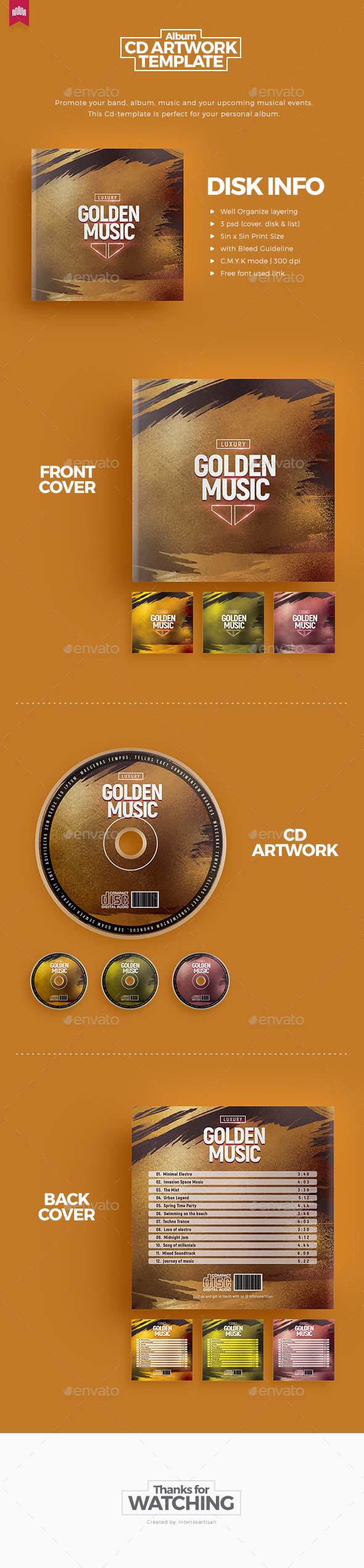 Golden Music - Cd Artwork - CD & DVD Artwork Print Templates