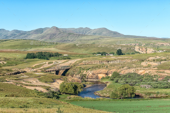 Landscape with bridge on road R396 over the Bell River - Stock Photo - Images