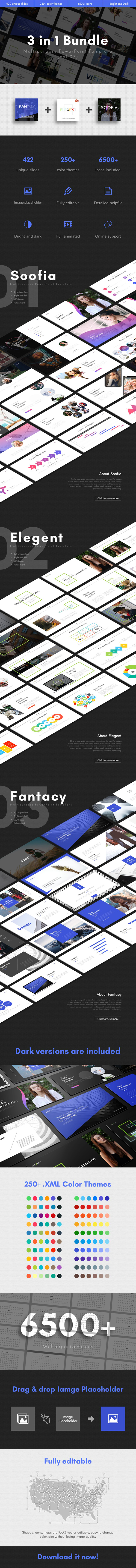 3 in 1 Multipurpose PowerPoint Template Bundle (Vol.05) - Business PowerPoint Templates