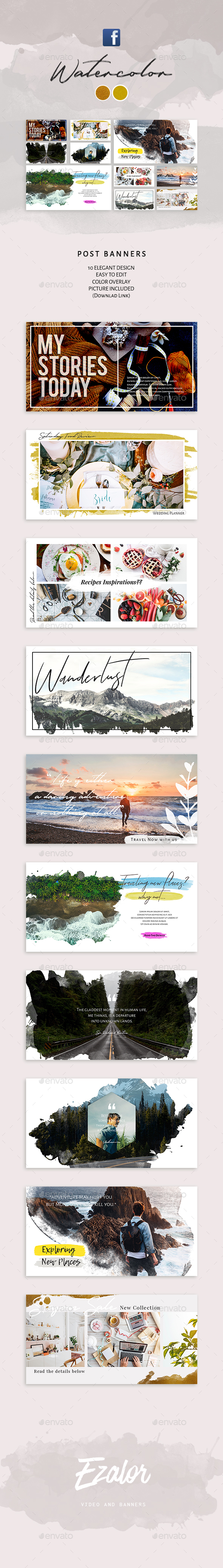 Watercolor Facebook Post Banners - Social Media Web Elements