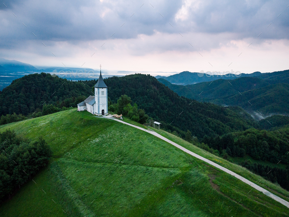 Aerial view over Lonely Chapel of  St. Primus and Felician, Jamn - Stock Photo - Images