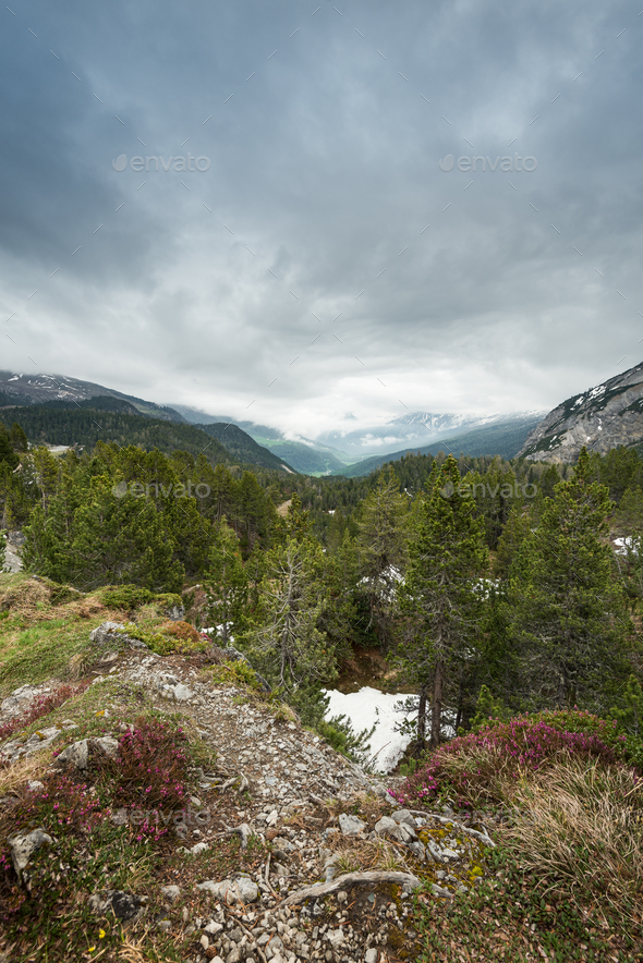 Cloudy and stormy weather in Swiss Alps,Switzerland - Stock Photo - Images