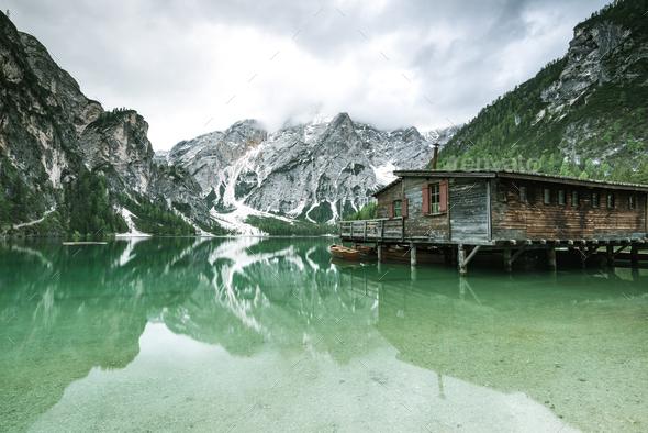 Pragser Wildsee or Braies Lake in Dolomites , Sudtirol, Italy. - Stock Photo - Images