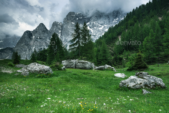 Breathtaking views in Julian Alps,Triglav Park,Slovenia - Stock Photo - Images