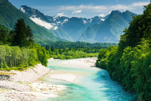 Beautiful canyon in forest with Soca river,Slovenia - Stock Photo - Images