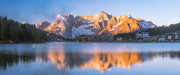 Panoramic sunrise over Alps at Misurina lake,Italy - Stock Photo - Images