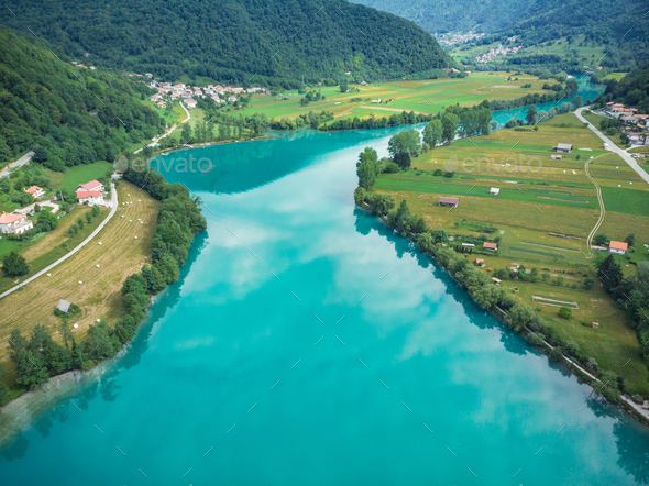 Beautiful unreal emerald green water in Most na Soci, Slovenia - Stock Photo - Images