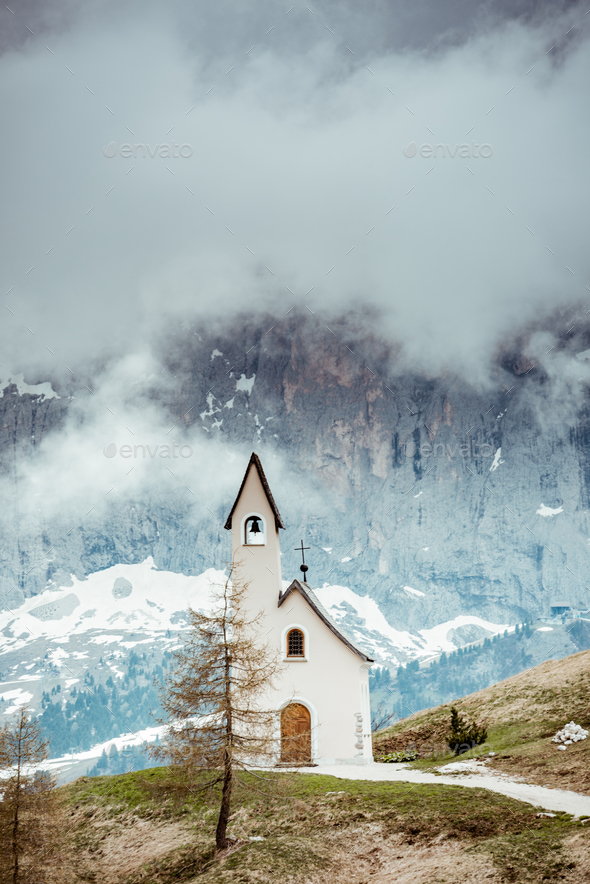 Lonely Chapel in remote Italian Tyrol mountains - Stock Photo - Images