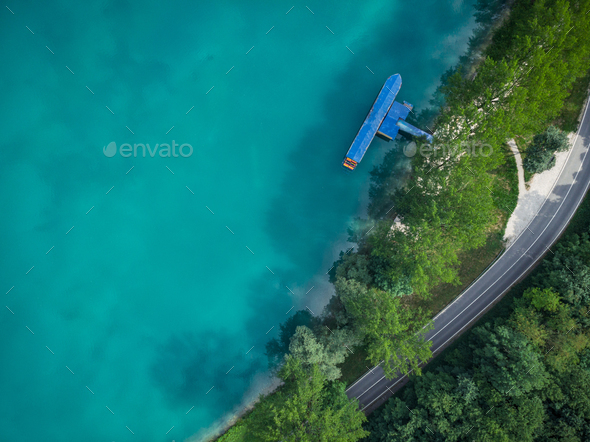 Top down aerial view over Most na Soci,Slovenia - Stock Photo - Images