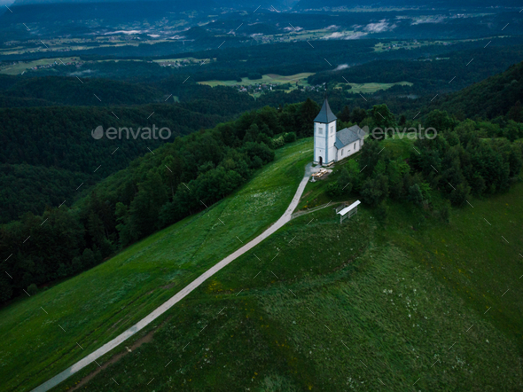 Aerial drone, Chapel of  St. Primus and Felician, Jamnik, Sloven - Stock Photo - Images