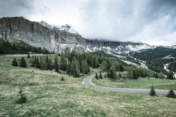 Winding road in Gardena Pass, South Tyrol, Italy - Stock Photo - Images