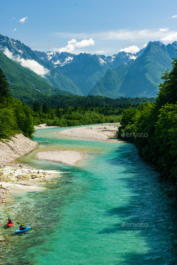 Kayaks on Soca river,Slovenia - Stock Photo - Images