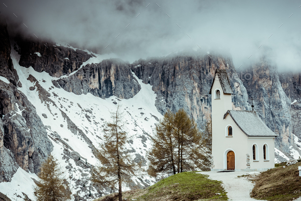 Lonely Chapel on cloudy day in South Tyrol,Italy - Stock Photo - Images
